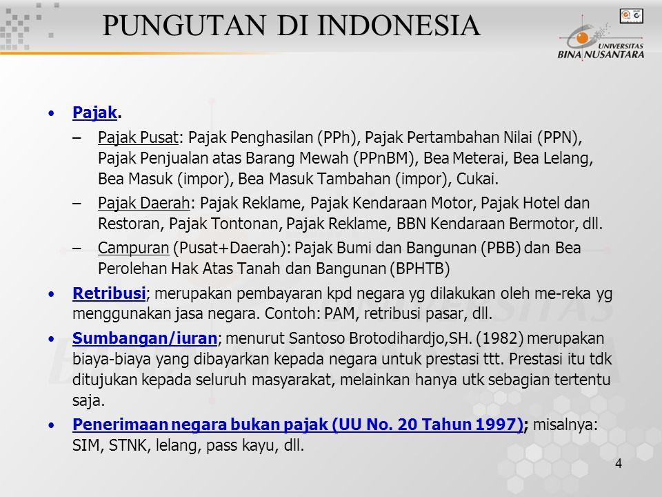 4 PUNGUTAN DI INDONESIA Pajak. –Pajak Pusat: Pajak Penghasilan (PPh), Pajak Pertambahan Nilai (PPN), Pajak Penjualan atas Barang Mewah (PPnBM), Bea Me