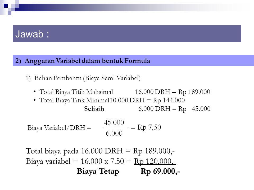 Jawab : 2) Anggaran Variabel dalam bentuk Formula 1) Bahan Pembantu (Biaya Semi Variabel) Total Biaya Titik Maksimal16.000 DRH = Rp 189.000 Total Biaya Titik Minimal10.000 DRH = Rp 144.000 Selisih 6.000 DRH = Rp 45.000 Biaya Variabel/DRH = Total biaya pada 16.000 DRH = Rp 189.000,- Biaya variabel = 16.000 x 7.50 = Rp 120.000,- Biaya Tetap Rp 69.000,-