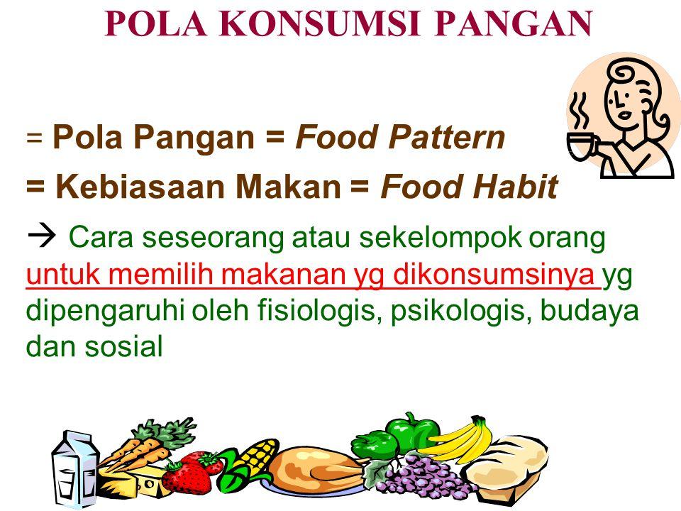 POLA KONSUMSI PANGAN = Pola Pangan = Food Pattern = Kebiasaan Makan = Food Habit  Cara seseorang atau sekelompok orang untuk memilih makanan yg dikonsumsinya yg dipengaruhi oleh fisiologis, psikologis, budaya dan sosial