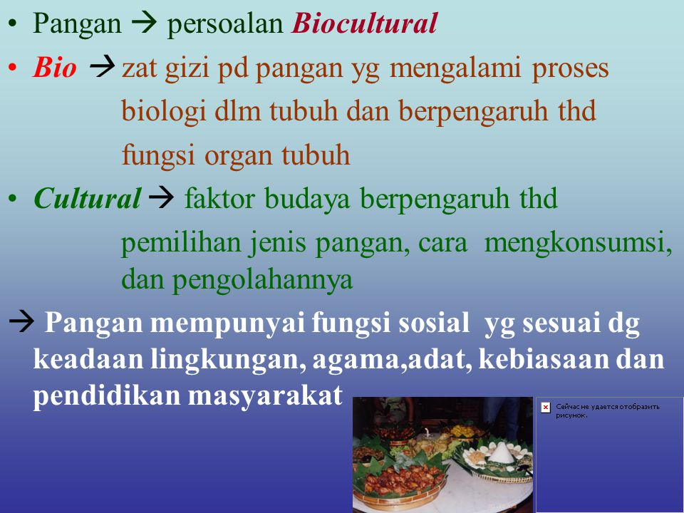 Pangan  persoalan Biocultural Bio  zat gizi pd pangan yg mengalami proses biologi dlm tubuh dan berpengaruh thd fungsi organ tubuh Cultural  faktor budaya berpengaruh thd pemilihan jenis pangan, cara mengkonsumsi, dan pengolahannya  Pangan mempunyai fungsi sosial yg sesuai dg keadaan lingkungan, agama,adat, kebiasaan dan pendidikan masyarakat