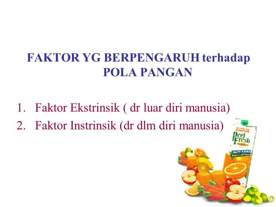 FAKTOR YG BERPENGARUH terhadap POLA PANGAN 1.Faktor Ekstrinsik ( dr luar diri manusia) 2.Faktor Instrinsik (dr dlm diri manusia)