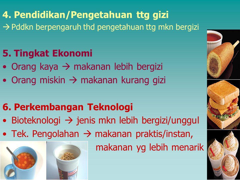 4.Pendidikan/Pengetahuan ttg gizi  Pddkn berpengaruh thd pengetahuan ttg mkn bergizi 5.
