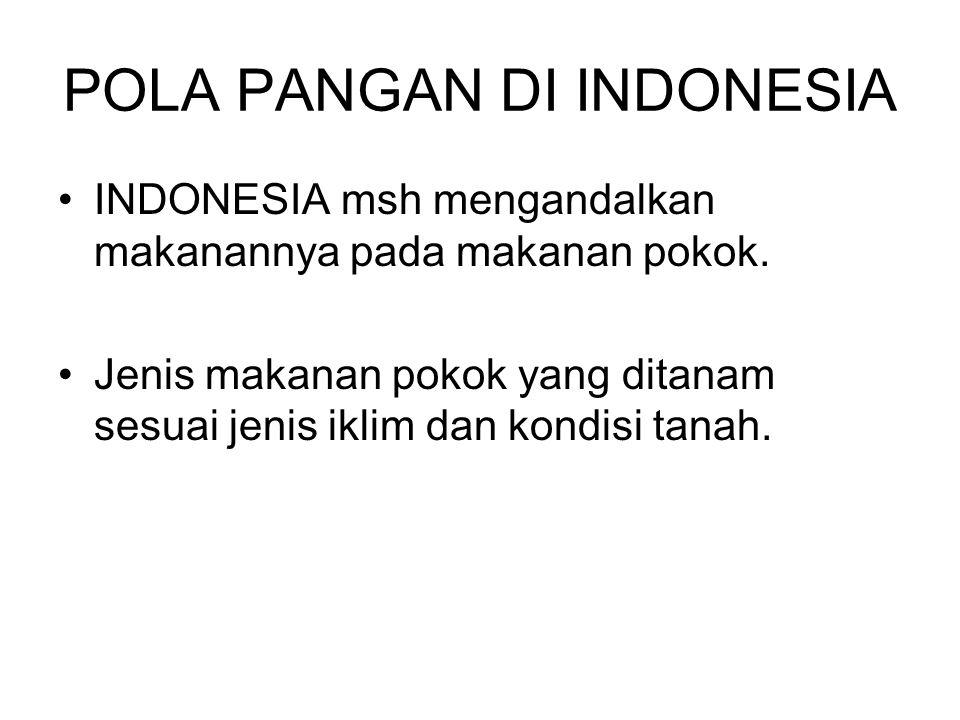 POLA PANGAN DI INDONESIA INDONESIA msh mengandalkan makanannya pada makanan pokok.