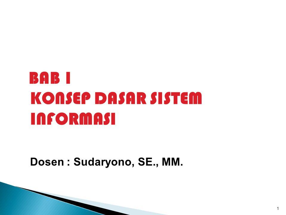 BAB 1 KONSEP DASAR SISTEM INFORMASI Dosen : Sudaryono, SE., MM. 1