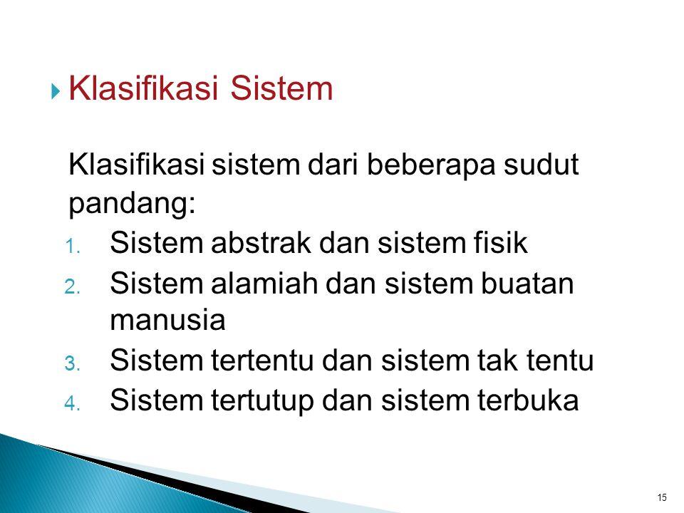  Klasifikasi Sistem Klasifikasi sistem dari beberapa sudut pandang: 1. Sistem abstrak dan sistem fisik 2. Sistem alamiah dan sistem buatan manusia 3.