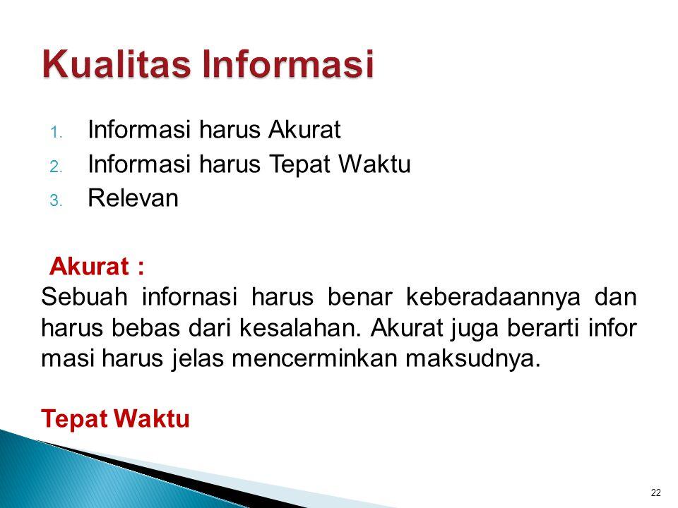 1. Informasi harus Akurat 2. Informasi harus Tepat Waktu 3. Relevan Akurat : Sebuah infornasi harus benar keberadaannya dan harus bebas dari kesalahan