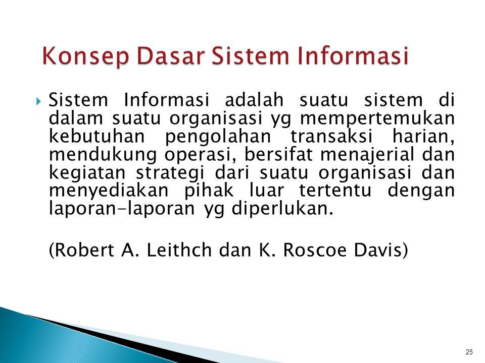  Sistem Informasi adalah suatu sistem di dalam suatu organisasi yg mempertemukan kebutuhan pengolahan transaksi harian, mendukung operasi, bersifat m