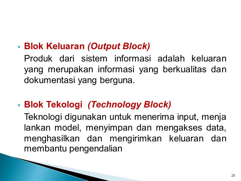  Blok Keluaran (Output Block) Produk dari sistem informasi adalah keluaran yang merupakan informasi yang berkualitas dan dokumentasi yang berguna. 