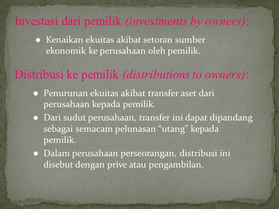Investasi dari pemilik (investments by owners): Kenaikan ekuitas akibat setoran sumber ekonomik ke perusahaan oleh pemilik. Distribusi ke pemilik (dis