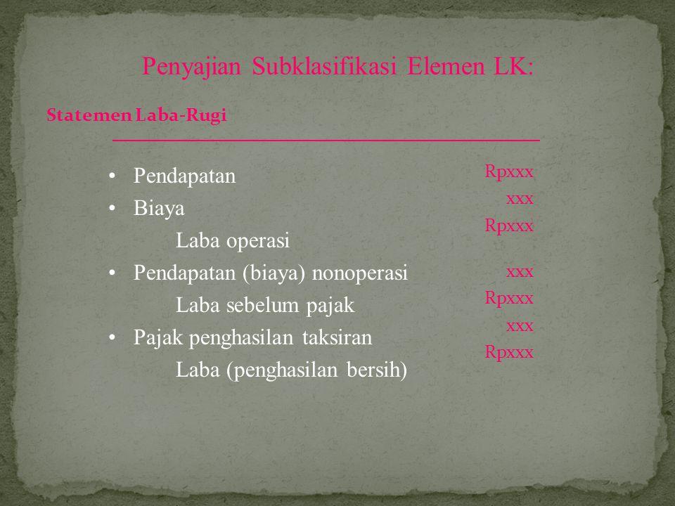 Penyajian Subklasifikasi Elemen LK: Pendapatan Biaya Laba operasi Pendapatan (biaya) nonoperasi Laba sebelum pajak Pajak penghasilan taksiran Laba (pe