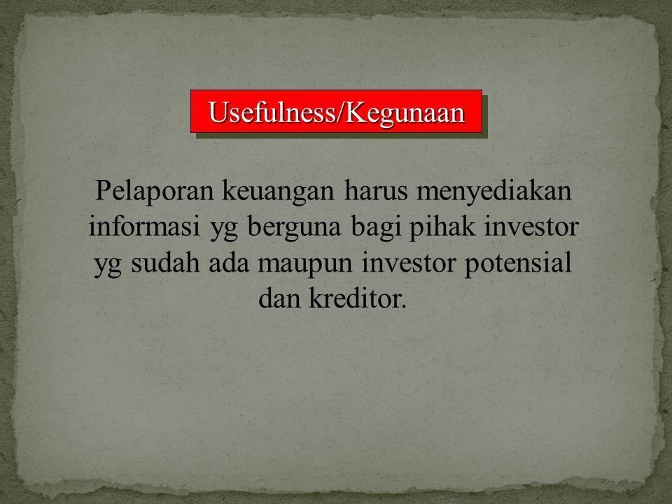 Usefulness/KegunaanUsefulness/Kegunaan Pelaporan keuangan harus menyediakan informasi yg berguna bagi pihak investor yg sudah ada maupun investor pote