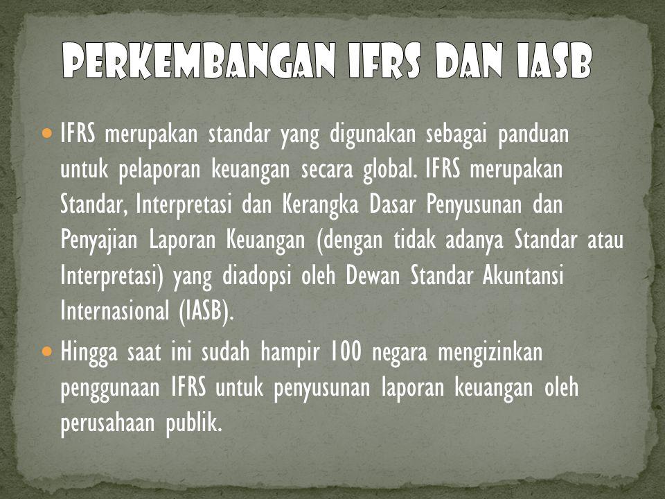 IFRS merupakan standar yang digunakan sebagai panduan untuk pelaporan keuangan secara global. IFRS merupakan Standar, Interpretasi dan Kerangka Dasar