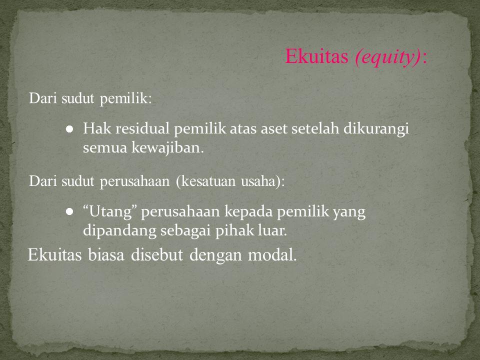 """Ekuitas (equity): Dari sudut pemilik: Hak residual pemilik atas aset setelah dikurangi semua kewajiban. Dari sudut perusahaan (kesatuan usaha): """"Utang"""