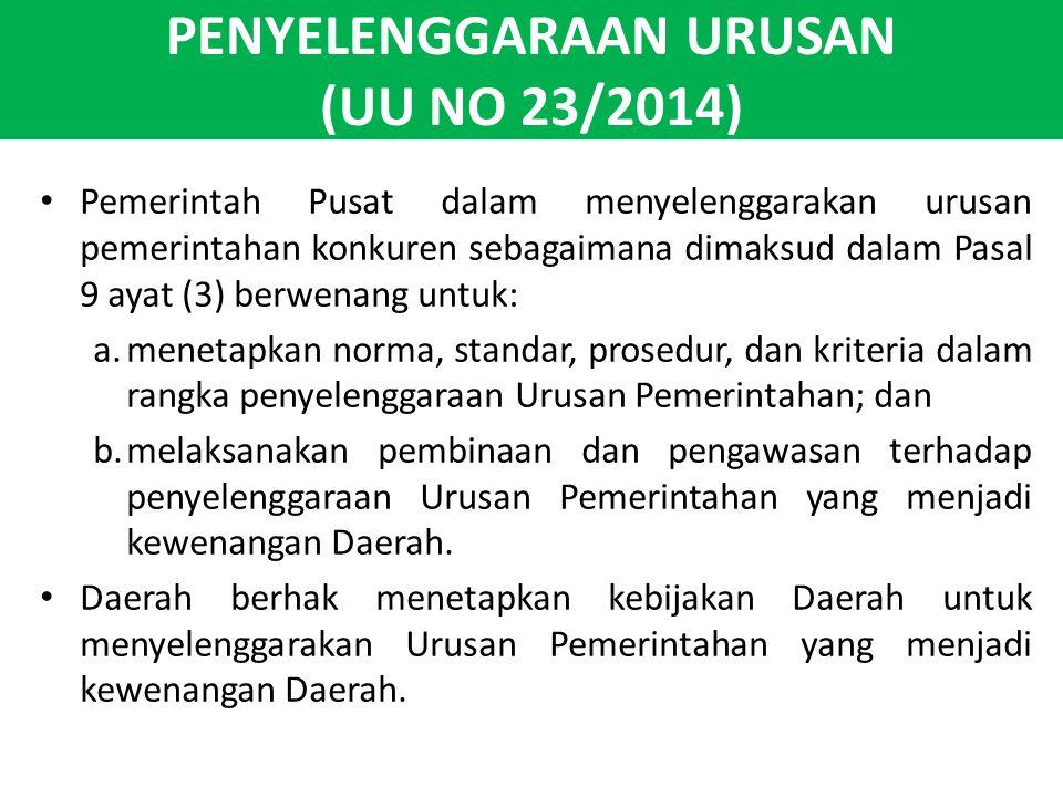 PENYELENGGARAAN URUSAN (UU NO 23/2014) Pemerintah Pusat dalam menyelenggarakan urusan pemerintahan konkuren sebagaimana dimaksud dalam Pasal 9 ayat (3