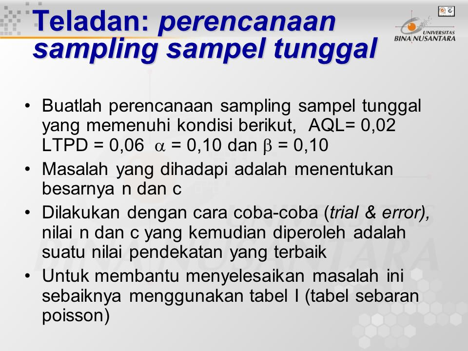 Perencanaan sampling sampel tunggal Ambil sampel berukuran n d  c Tolak Lot Terima Lot Ya Perencanaan Sampling Sampel Tunggal Ket: d = banyaknya caca