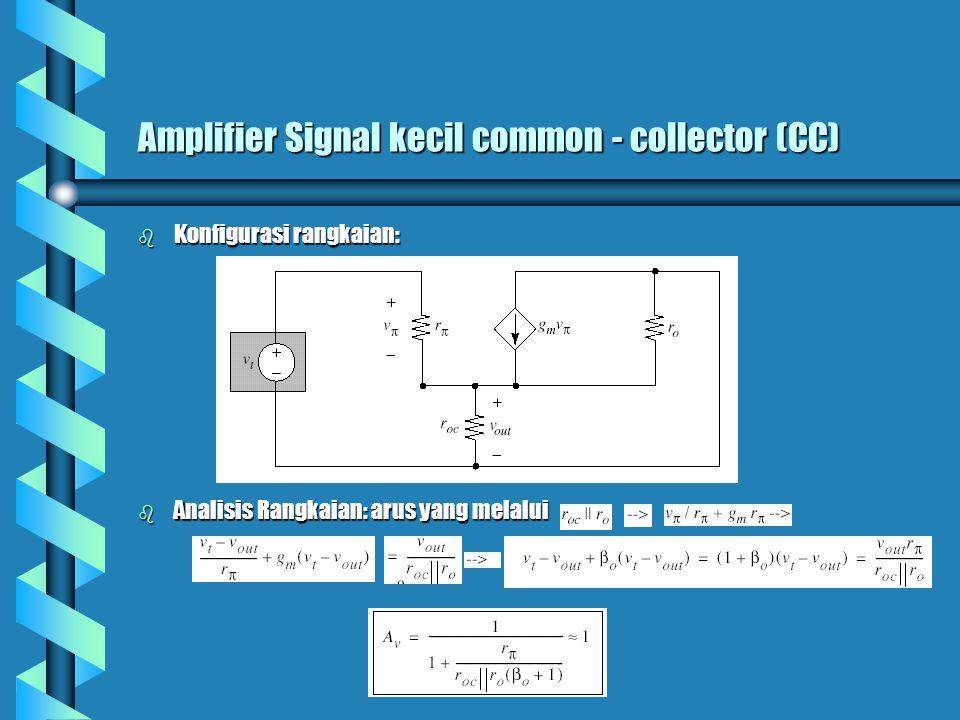 Amplifier Signal kecil common - collector (CC) b Konfigurasi rangkaian: b Analisis Rangkaian: arus yang melalui