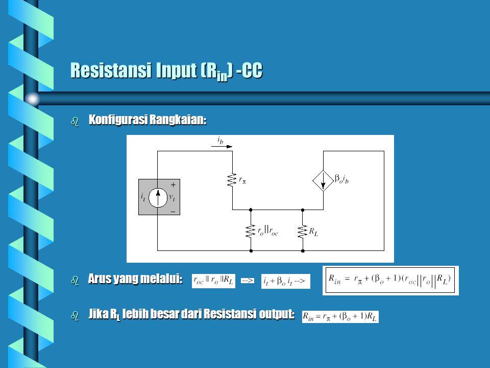 Resistansi Input (R in ) -CC b Konfigurasi Rangkaian: b Arus yang melalui: b Jika R L lebih besar dari Resistansi output: