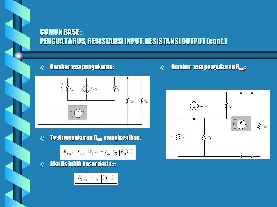 Model Common base 2-port b Bentuk Rangkaian untuk Commont-Base 2-port : b Resistansi Output tergantung pada resistansi sumber dan dapat membuat penguatan arus +1 melalui pengontrolan sumber.
