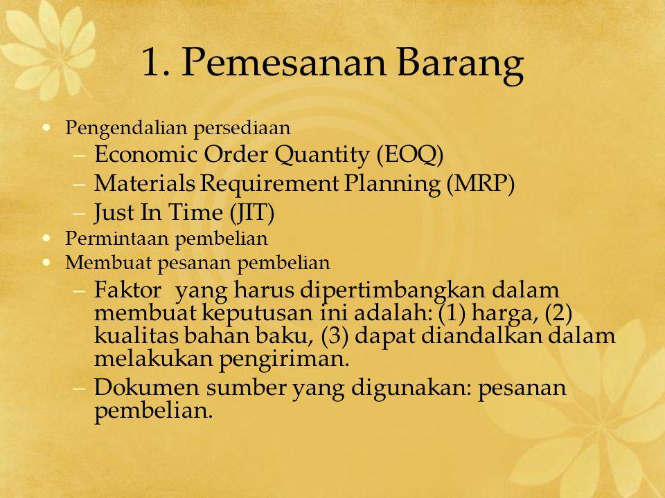 1. Pemesanan Barang Pengendalian persediaan –Economic Order Quantity (EOQ) –Materials Requirement Planning (MRP) –Just In Time (JIT) Permintaan pembel