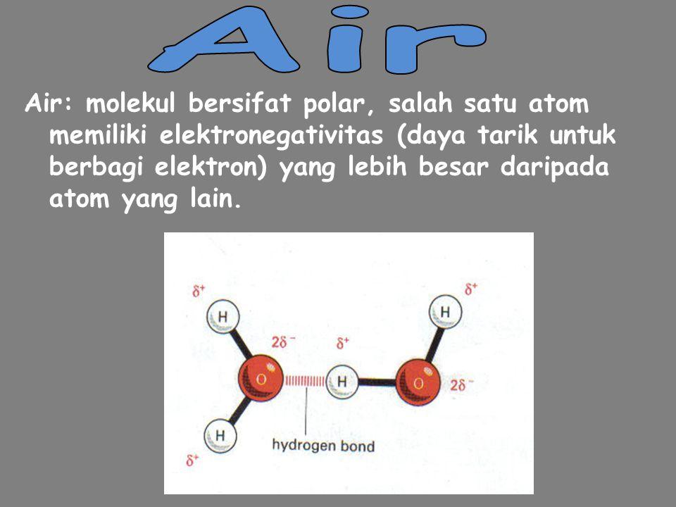 Keistimewaan ikatan kovalen polar : 1.Polaritas air, dari 2 mol.hidrogen dengan 1 mol.oksigen (bentuk V melebar), Oksigen bermuatan sedikit negatif dan Hidrogen bermuatan sedikit positif.