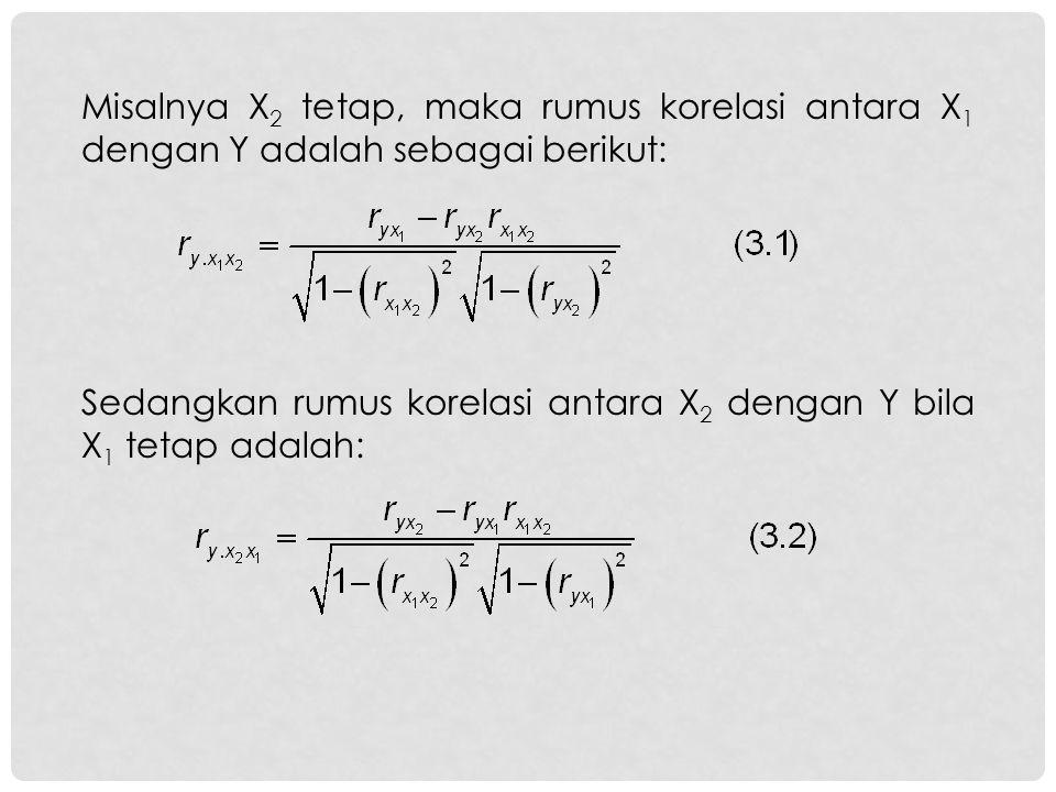 Misalnya X 2 tetap, maka rumus korelasi antara X 1 dengan Y adalah sebagai berikut: Sedangkan rumus korelasi antara X 2 dengan Y bila X 1 tetap adalah