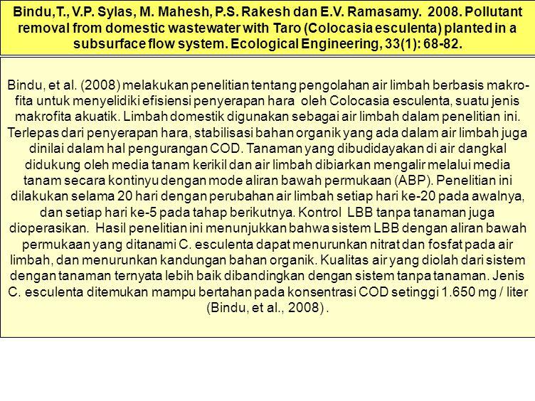Bindu, et al. (2008) melakukan penelitian tentang pengolahan air limbah berbasis makro- fita untuk menyelidiki efisiensi penyerapan hara oleh Colocasi