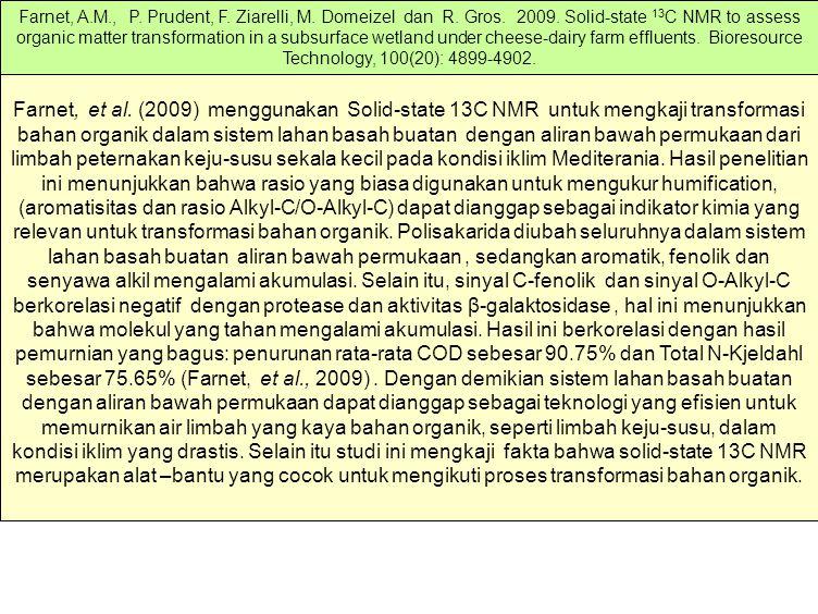 Farnet, et al. (2009) menggunakan Solid-state 13C NMR untuk mengkaji transformasi bahan organik dalam sistem lahan basah buatan dengan aliran bawah pe