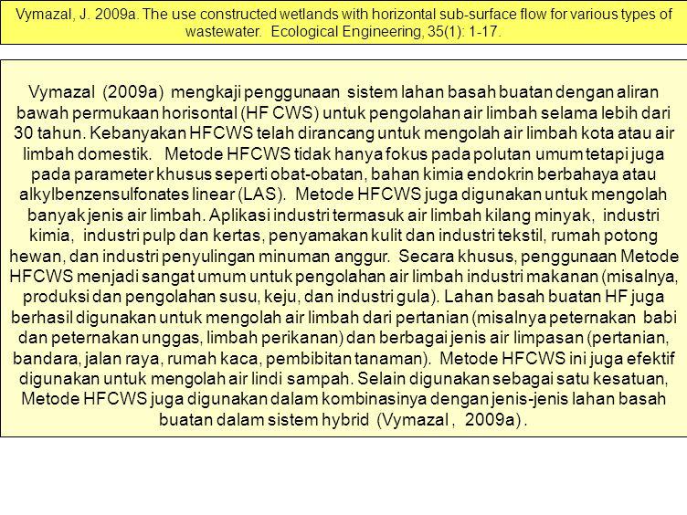 Vymazal (2009a) mengkaji penggunaan sistem lahan basah buatan dengan aliran bawah permukaan horisontal (HF CWS) untuk pengolahan air limbah selama lebih dari 30 tahun.