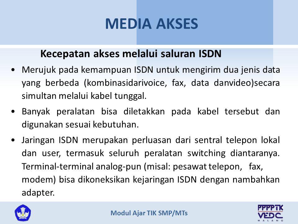 Modul Ajar TIK SMP/MTs MEDIA AKSES Kecepatan akses melalui saluran ISDN Merujuk pada kemampuan ISDN untuk mengirim dua jenis data yang berbeda (kombinasidarivoice, fax, data danvideo)secara simultan melalui kabel tunggal.