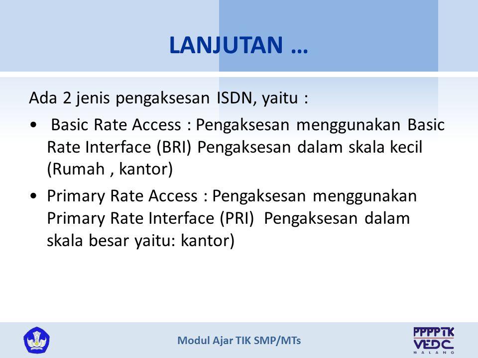 Modul Ajar TIK SMP/MTs Ada 2 jenis pengaksesan ISDN, yaitu : Basic Rate Access : Pengaksesan menggunakan Basic Rate Interface (BRI) Pengaksesan dalam skala kecil (Rumah, kantor) Primary Rate Access : Pengaksesan menggunakan Primary Rate Interface (PRI) Pengaksesan dalam skala besar yaitu: kantor) LANJUTAN …