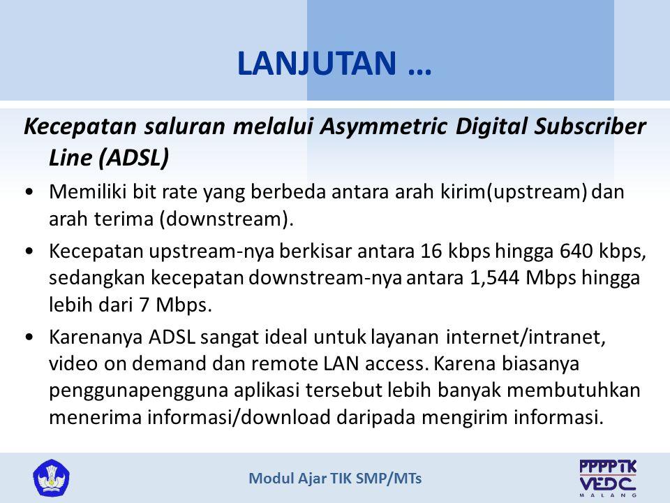 Modul Ajar TIK SMP/MTs Kecepatan saluran melalui jaringan TV kabel Kecepatan tranmisi data melalui TV kabel lebih tinggi di banding tranmisi data jaringan telepon standar atau ISDN.