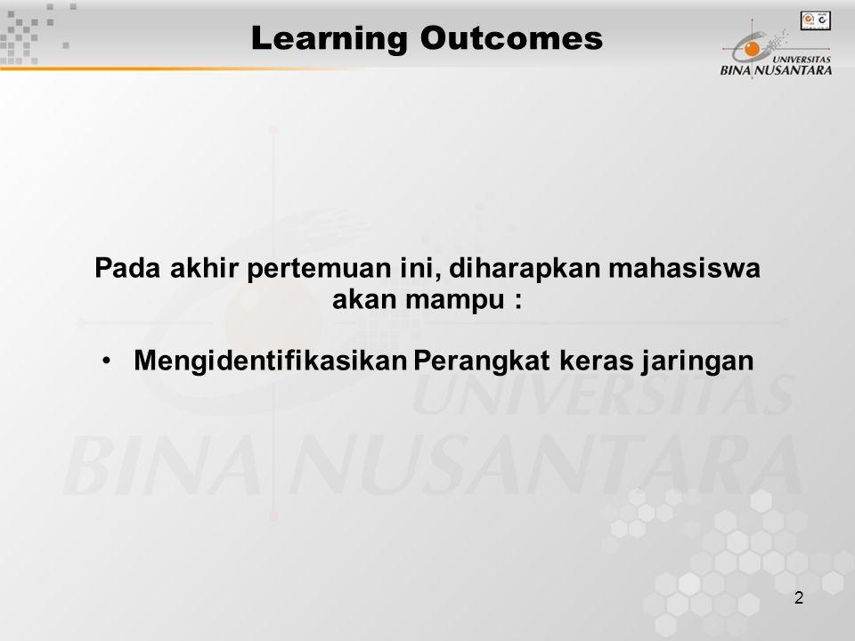 2 Learning Outcomes Pada akhir pertemuan ini, diharapkan mahasiswa akan mampu : Mengidentifikasikan Perangkat keras jaringan