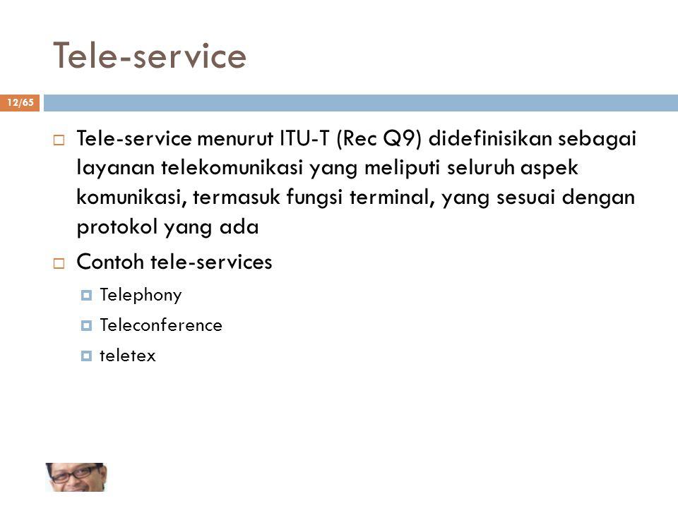 12/65 Tele-service  Tele-service menurut ITU-T (Rec Q9) didefinisikan sebagai layanan telekomunikasi yang meliputi seluruh aspek komunikasi, termasuk