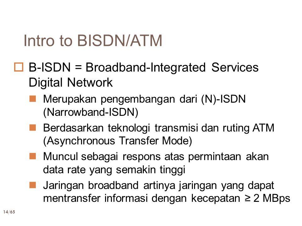 14/65 Intro to BISDN/ATM  B-ISDN = Broadband-Integrated Services Digital Network Merupakan pengembangan dari (N)-ISDN (Narrowband-ISDN) Berdasarkan t