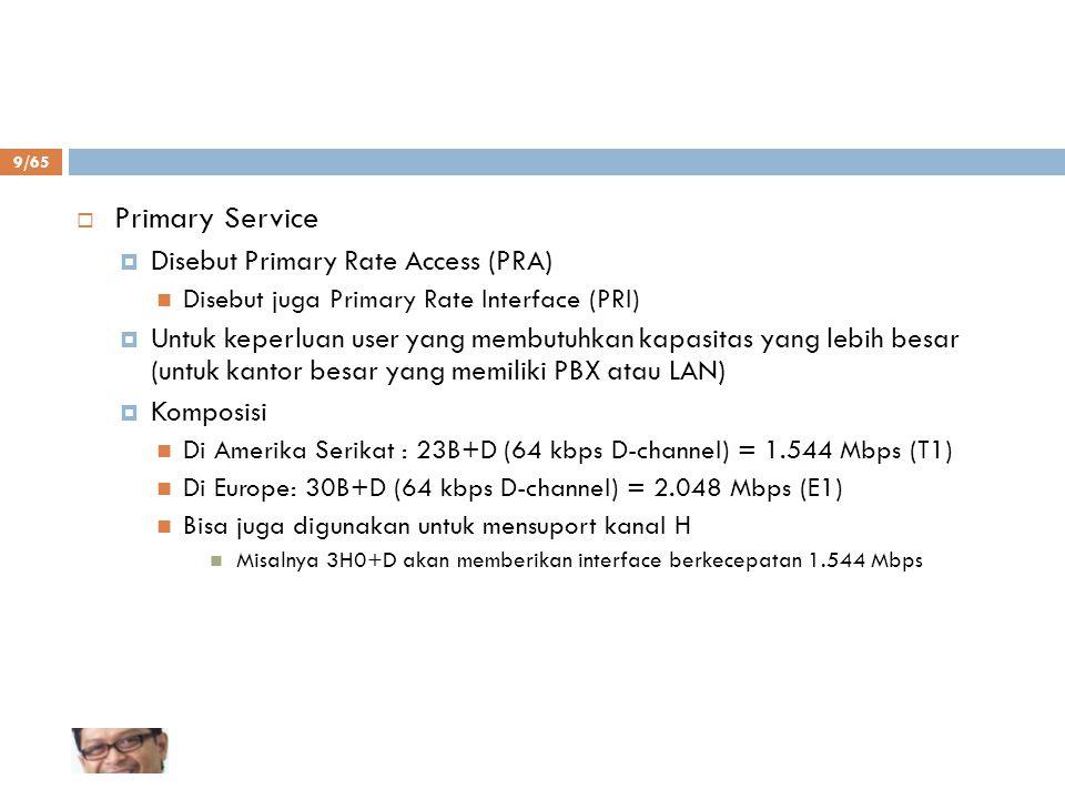9/65  Primary Service  Disebut Primary Rate Access (PRA) Disebut juga Primary Rate Interface (PRI)  Untuk keperluan user yang membutuhkan kapasitas