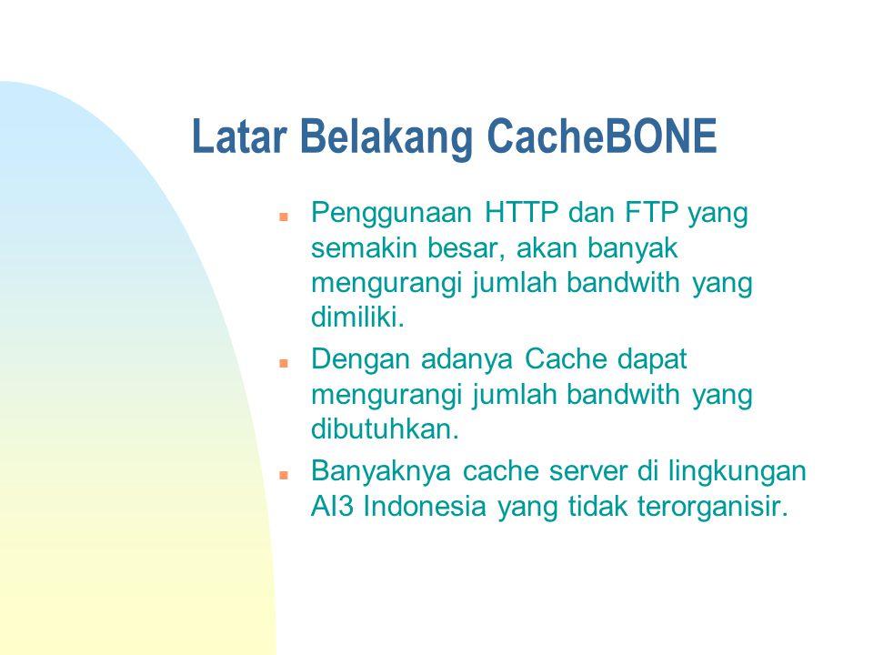 Latar Belakang CacheBONE n Penggunaan HTTP dan FTP yang semakin besar, akan banyak mengurangi jumlah bandwith yang dimiliki.