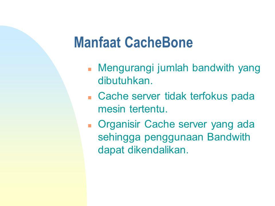Manfaat CacheBone n Mengurangi jumlah bandwith yang dibutuhkan.