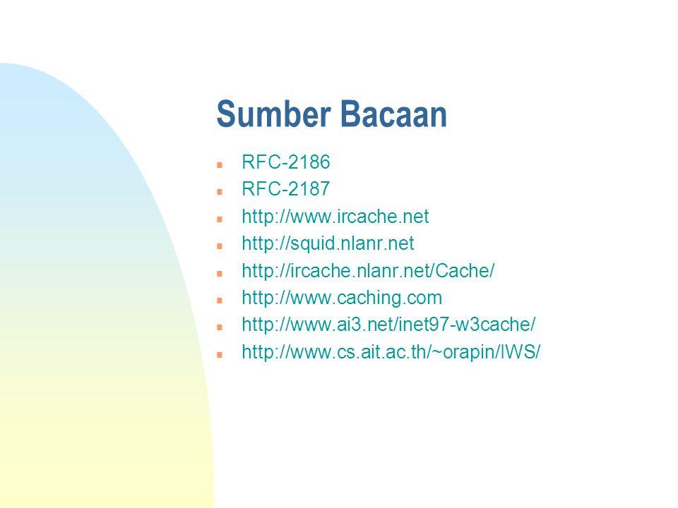 Sumber Bacaan n RFC-2186 n RFC-2187 n http://www.ircache.net n http://squid.nlanr.net n http://ircache.nlanr.net/Cache/ n http://www.caching.com n http://www.ai3.net/inet97-w3cache/ n http://www.cs.ait.ac.th/~orapin/IWS/