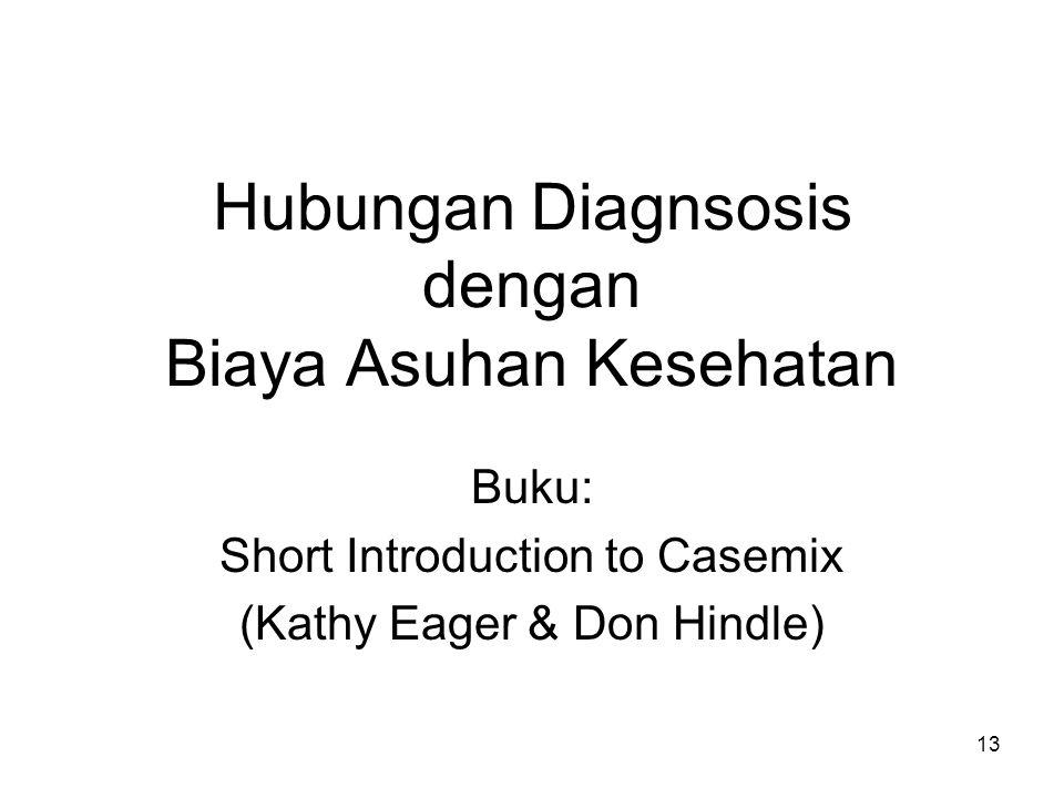 Hubungan Diagnsosis dengan Biaya Asuhan Kesehatan Buku: Short Introduction to Casemix (Kathy Eager & Don Hindle) 13