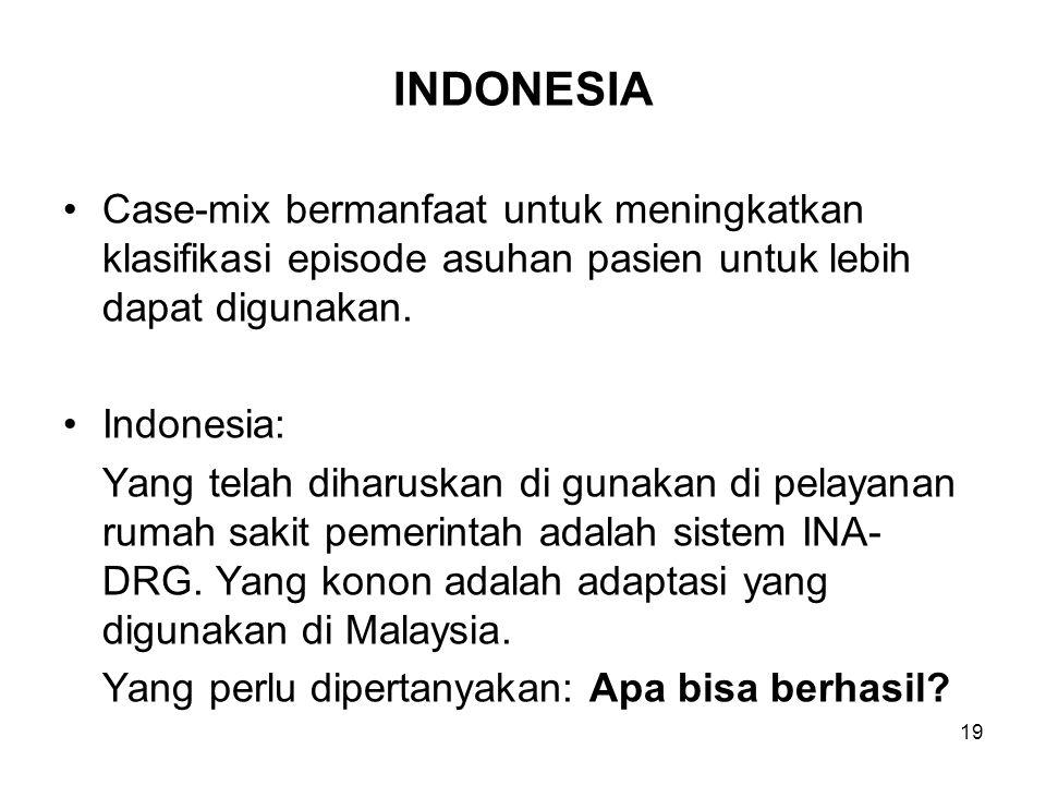 INDONESIA Case-mix bermanfaat untuk meningkatkan klasifikasi episode asuhan pasien untuk lebih dapat digunakan. Indonesia: Yang telah diharuskan di gu