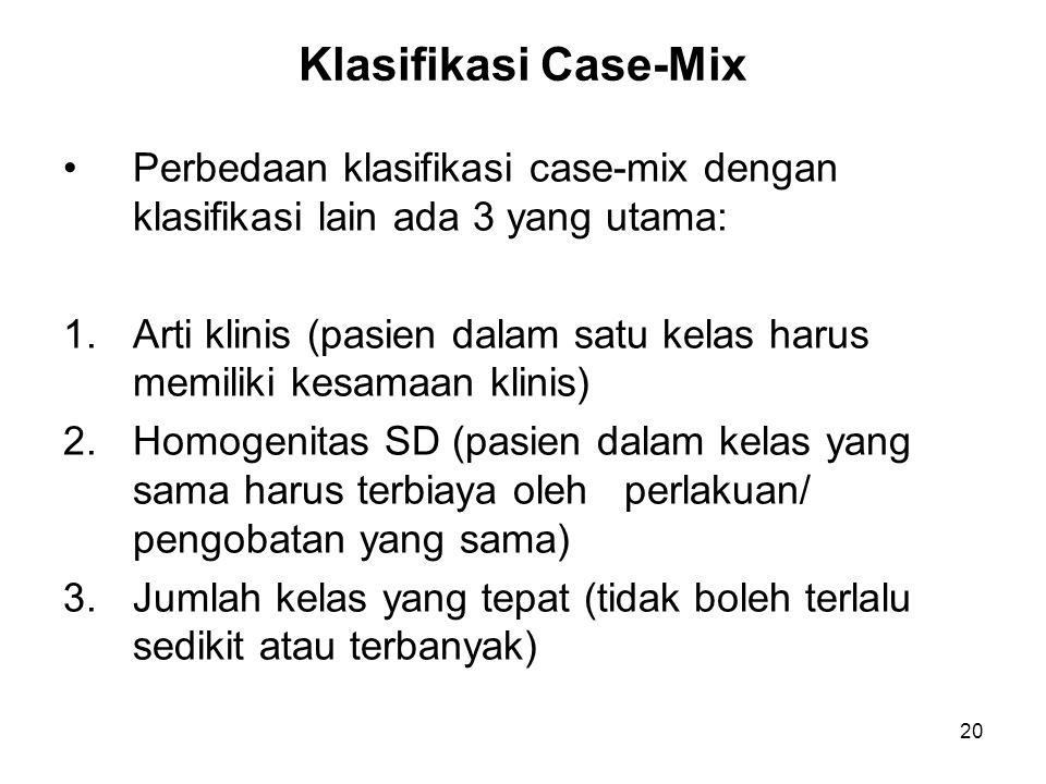 Klasifikasi Case-Mix Perbedaan klasifikasi case-mix dengan klasifikasi lain ada 3 yang utama: 1.Arti klinis (pasien dalam satu kelas harus memiliki ke