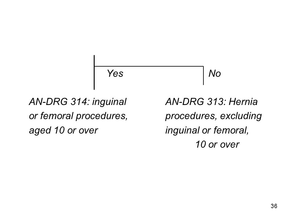 Yes No AN-DRG 314: inguinalAN-DRG 313: Hernia or femoral procedures,procedures, excluding aged 10 or overinguinal or femoral, 10 or over 36