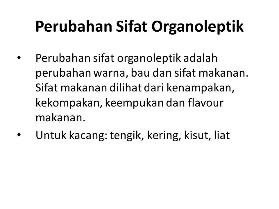 Perubahan Sifat Organoleptik Perubahan sifat organoleptik adalah perubahan warna, bau dan sifat makanan. Sifat makanan dilihat dari kenampakan, kekomp