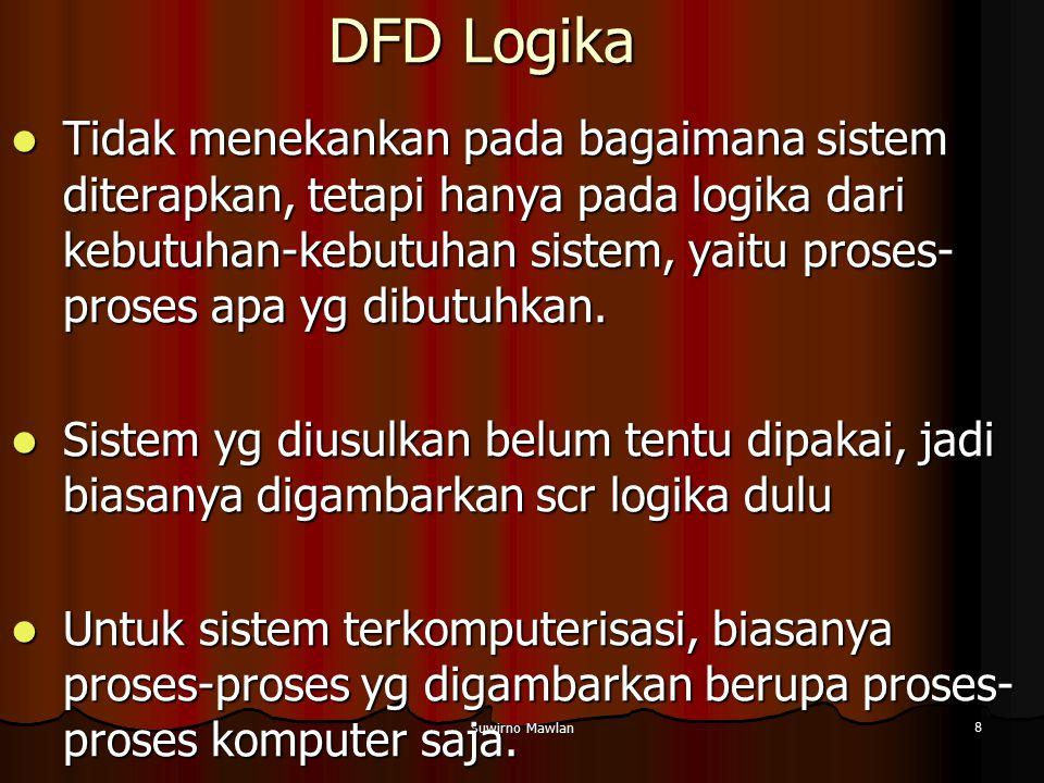 Suwirno Mawlan 8 DFD Logika Tidak menekankan pada bagaimana sistem diterapkan, tetapi hanya pada logika dari kebutuhan-kebutuhan sistem, yaitu proses-