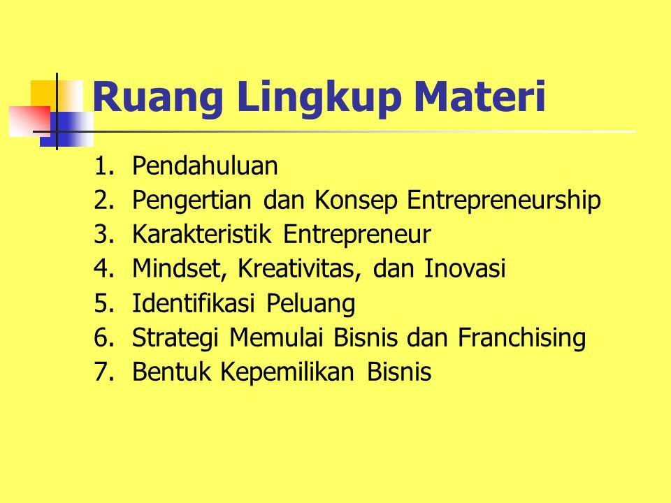 Ruang Lingkup Materi 1.Pendahuluan 2. Pengertian dan Konsep Entrepreneurship 3.