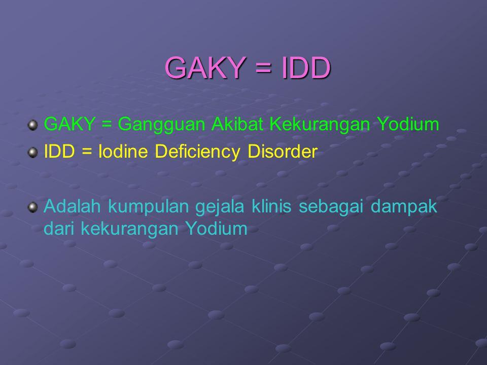 GAKY = IDD GAKY = Gangguan Akibat Kekurangan Yodium IDD = Iodine Deficiency Disorder Adalah kumpulan gejala klinis sebagai dampak dari kekurangan Yodi