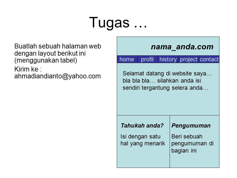 Tugas … Buatlah sebuah halaman web dengan layout berikut ini (menggunakan tabel) Kirim ke : ahmadiandianto@yahoo.com homeprofilhistoryprojectcontact n