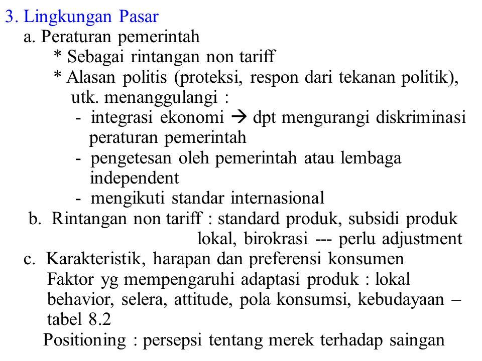 3. Lingkungan Pasar a. Peraturan pemerintah * Sebagai rintangan non tariff * Alasan politis (proteksi, respon dari tekanan politik), utk. menanggulang