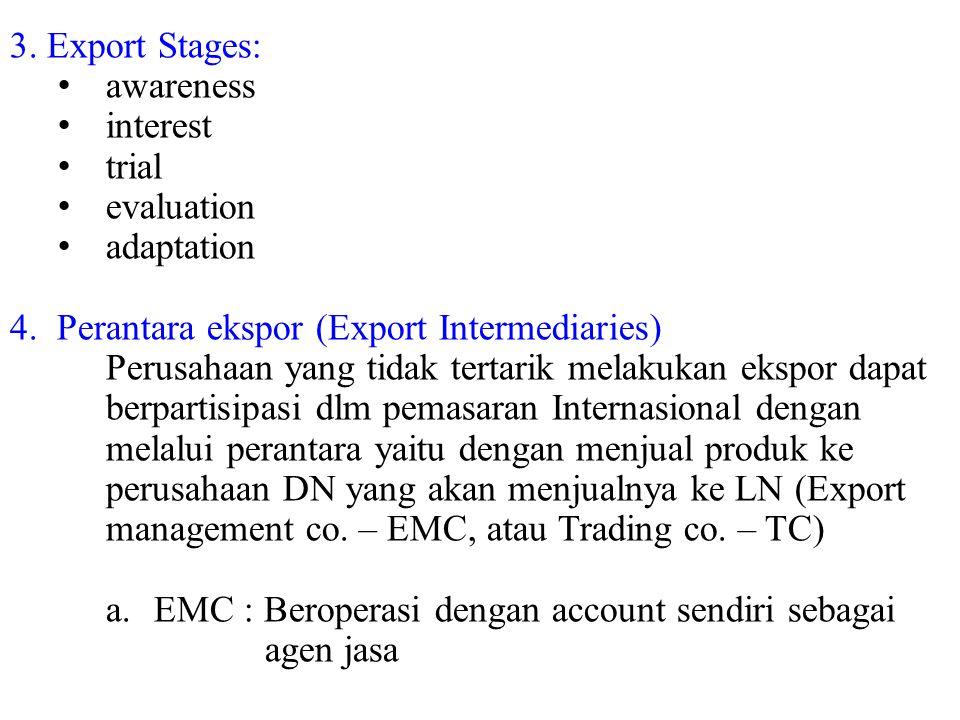 3. Export Stages: awareness interest trial evaluation adaptation 4. Perantara ekspor (Export Intermediaries) Perusahaan yang tidak tertarik melakukan