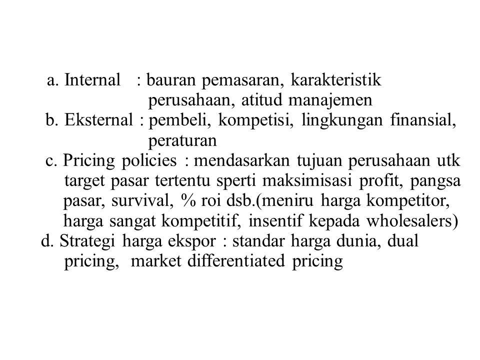 a. Internal : bauran pemasaran, karakteristik perusahaan, atitud manajemen b. Eksternal : pembeli, kompetisi, lingkungan finansial, peraturan c. Prici